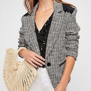 Free people rodeo studded houndstooth blazer